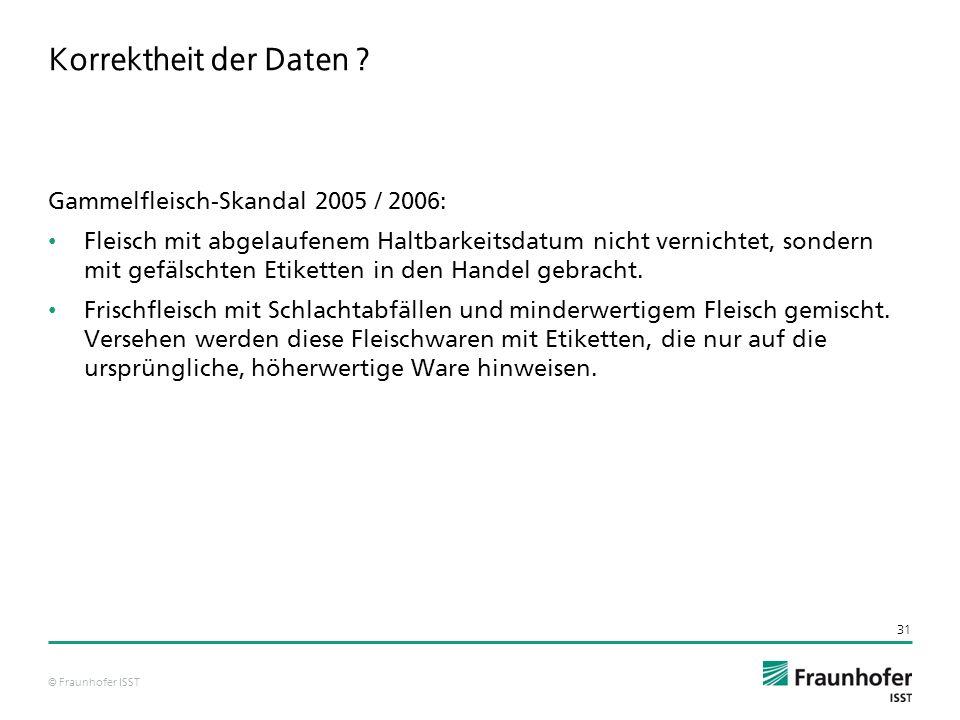 Korrektheit der Daten Gammelfleisch-Skandal 2005 / 2006: