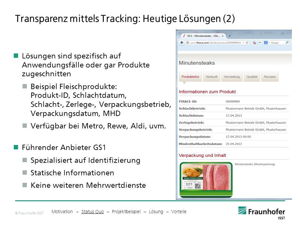 Transparenz mittels Tracking: Heutige Lösungen (2)