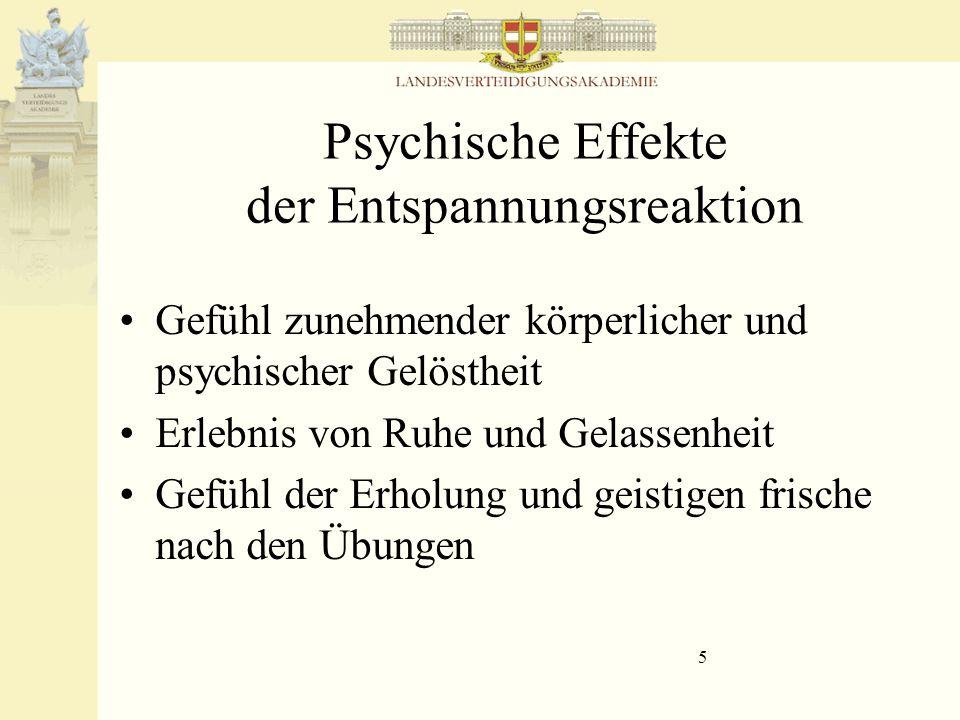 Psychische Effekte der Entspannungsreaktion