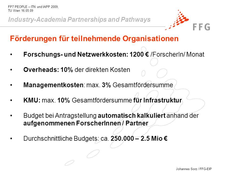 Förderungen für teilnehmende Organisationen