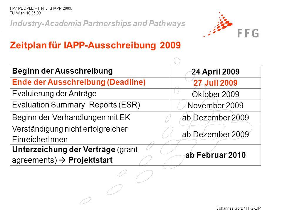 Zeitplan für IAPP-Ausschreibung 2009