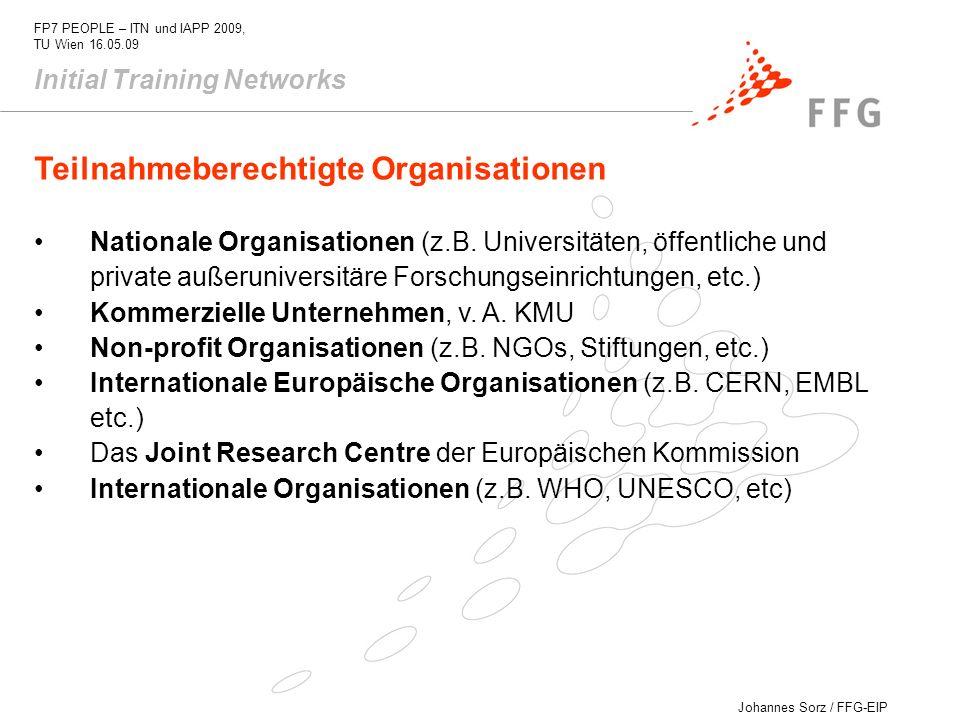 Teilnahmeberechtigte Organisationen