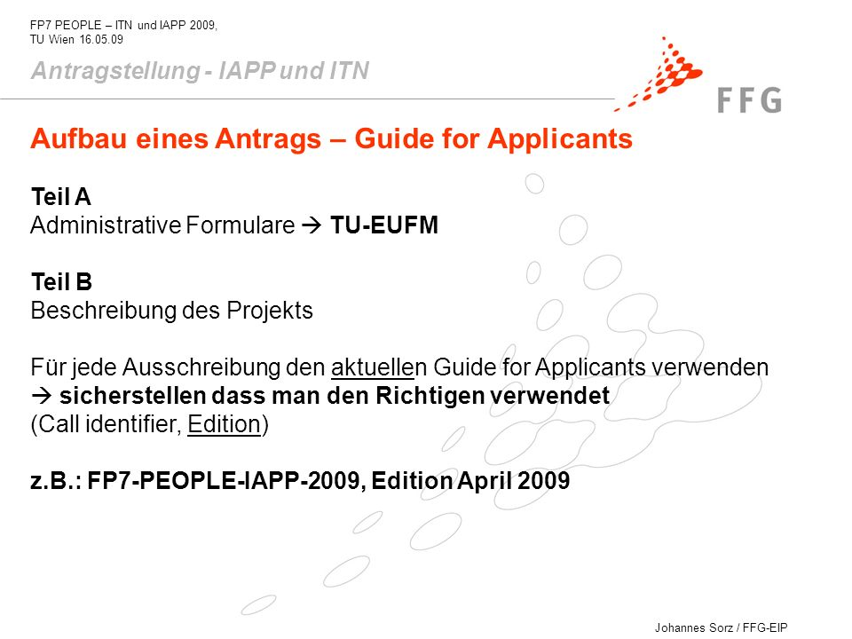 Aufbau eines Antrags – Guide for Applicants