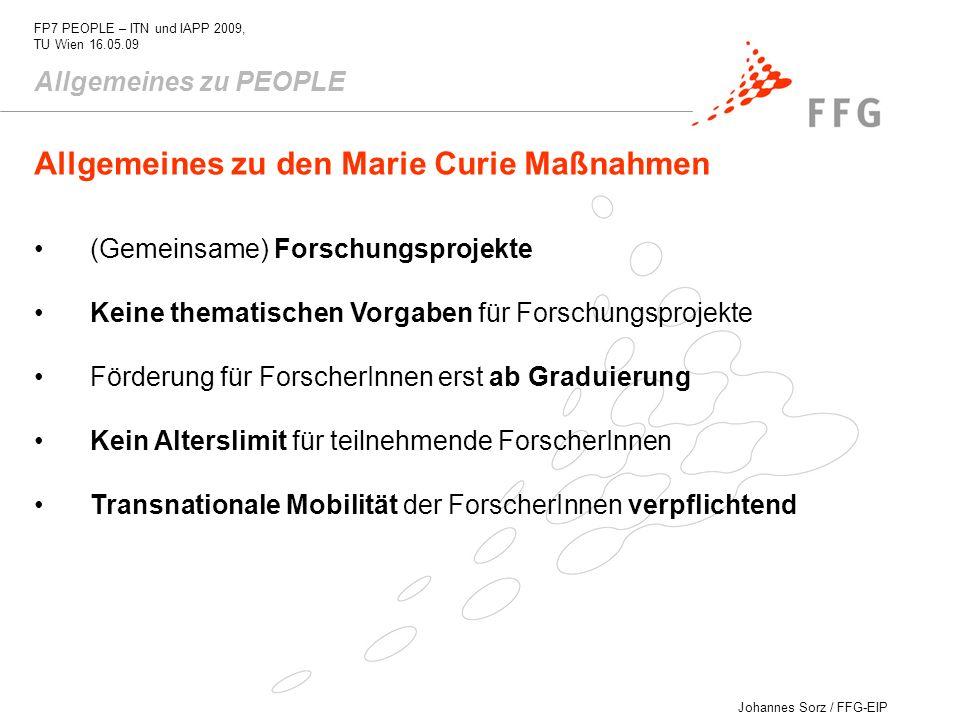 Allgemeines zu den Marie Curie Maßnahmen
