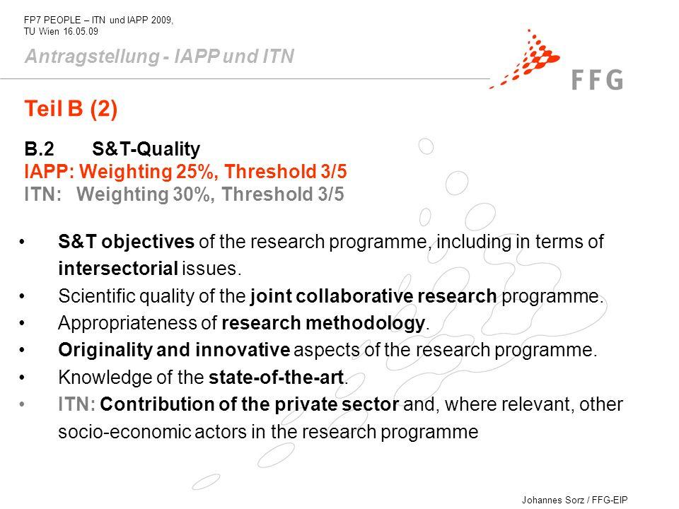 Teil B (2) Antragstellung - IAPP und ITN B.2 S&T-Quality