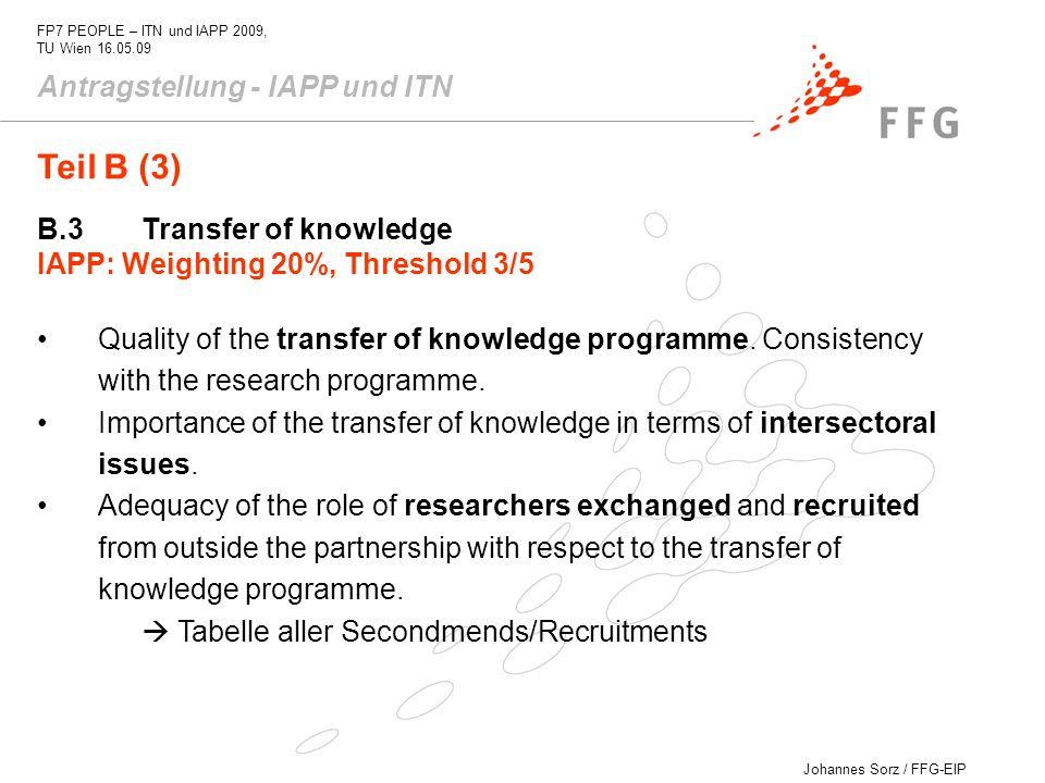 Teil B (3) Antragstellung - IAPP und ITN B.3 Transfer of knowledge