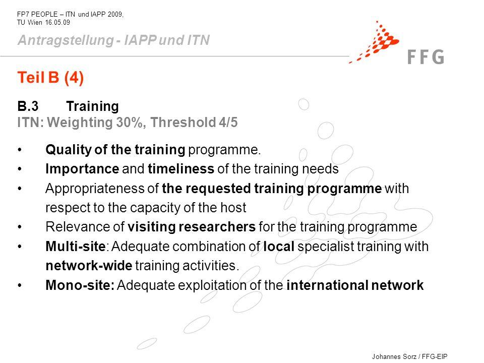 Teil B (4) Antragstellung - IAPP und ITN B.3 Training