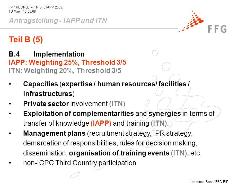Teil B (5) Antragstellung - IAPP und ITN B.4 Implementation