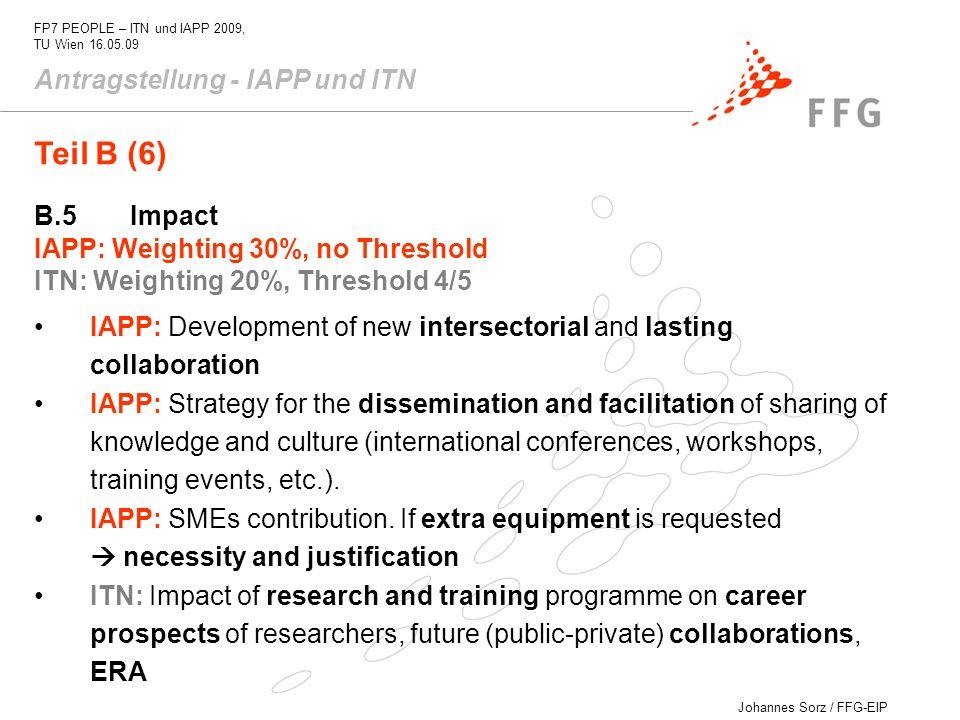 Teil B (6) Antragstellung - IAPP und ITN B.5 Impact