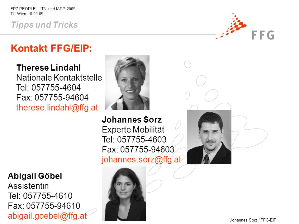 Kontakt FFG/EIP: Tipps und Tricks Therese Lindahl