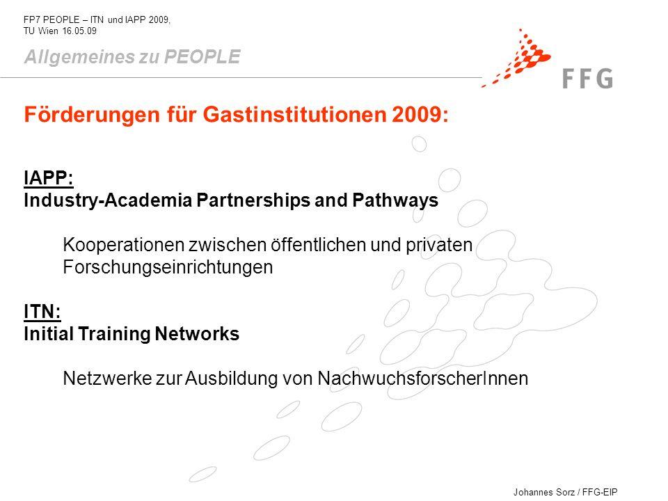 Förderungen für Gastinstitutionen 2009: