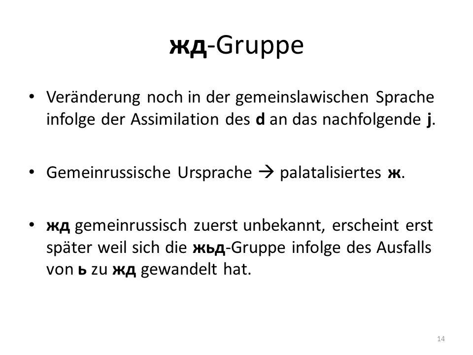 жд-Gruppe Veränderung noch in der gemeinslawischen Sprache infolge der Assimilation des d an das nachfolgende j.