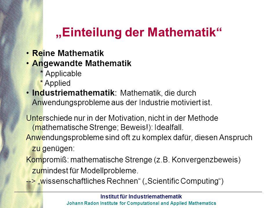 """""""Einteilung der Mathematik"""