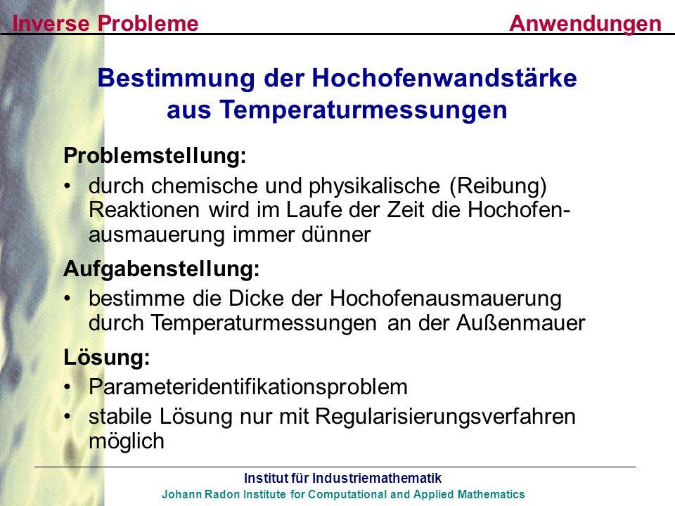 Bestimmung der Hochofenwandstärke aus Temperaturmessungen