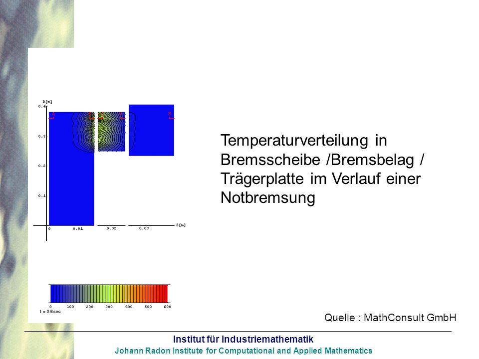 Temperaturverteilung in Bremsscheibe /Bremsbelag /