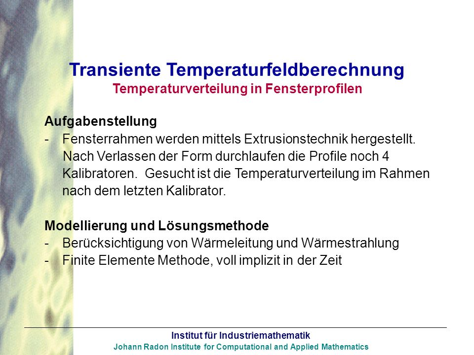 Transiente Temperaturfeldberechnung