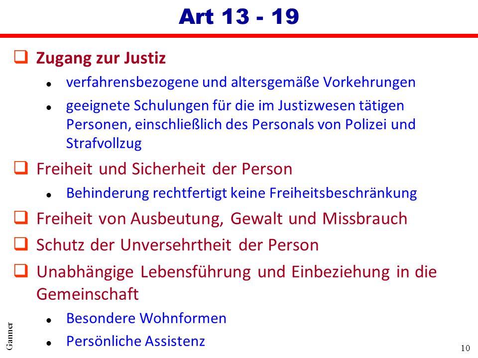 Art 13 - 19 Zugang zur Justiz Freiheit und Sicherheit der Person