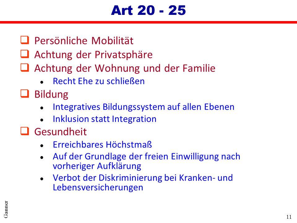 Art 20 - 25 Persönliche Mobilität Achtung der Privatsphäre