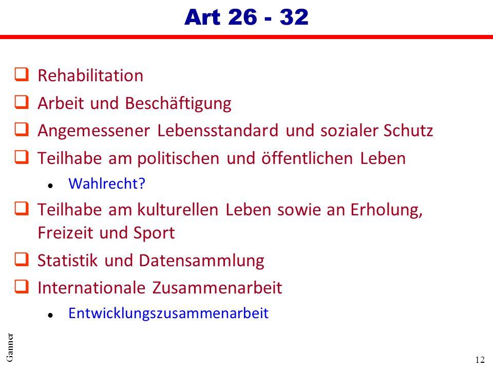 Art 26 - 32 Rehabilitation Arbeit und Beschäftigung