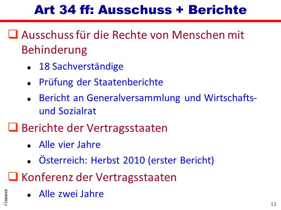 Art 34 ff: Ausschuss + Berichte
