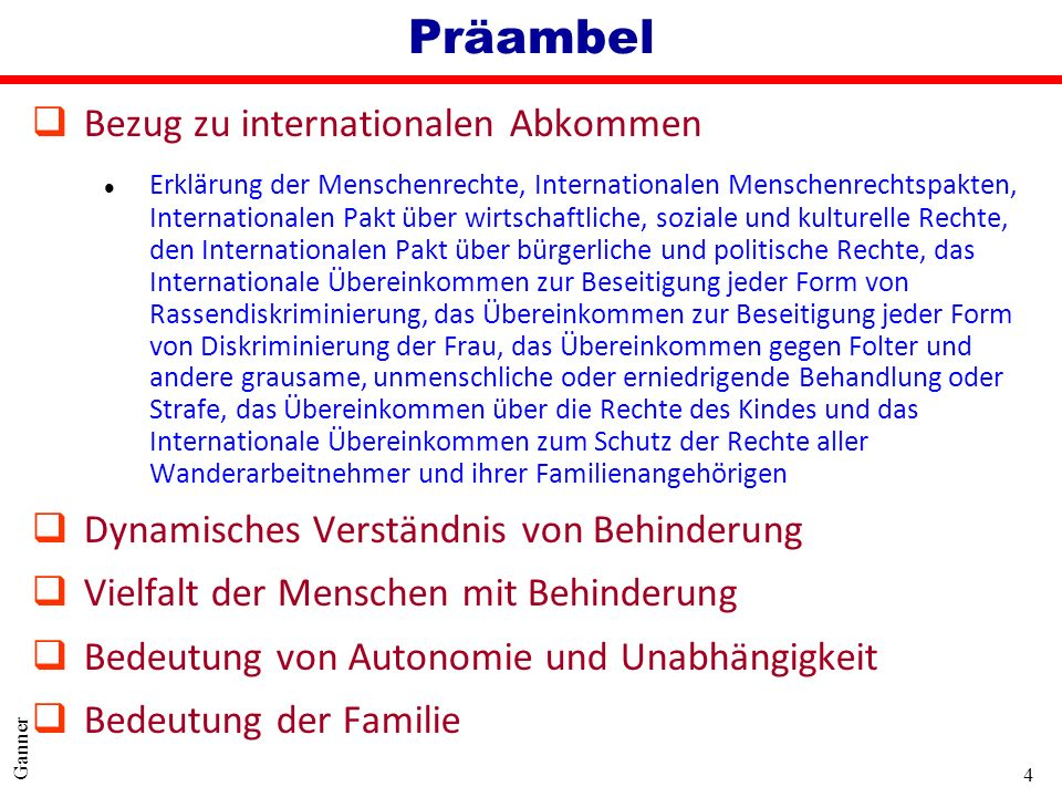 Präambel Bezug zu internationalen Abkommen