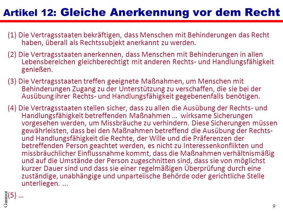 Artikel 12: Gleiche Anerkennung vor dem Recht