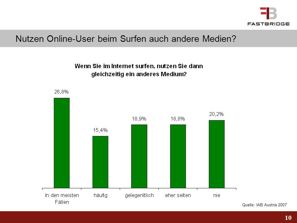 Nutzen Online-User beim Surfen auch andere Medien