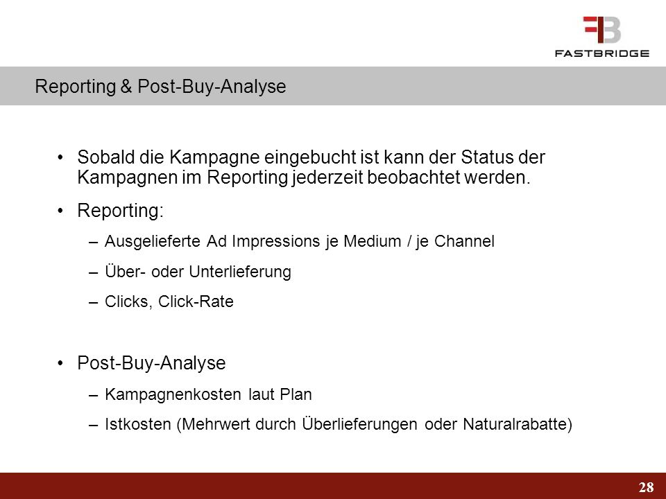 Reporting & Post-Buy-Analyse
