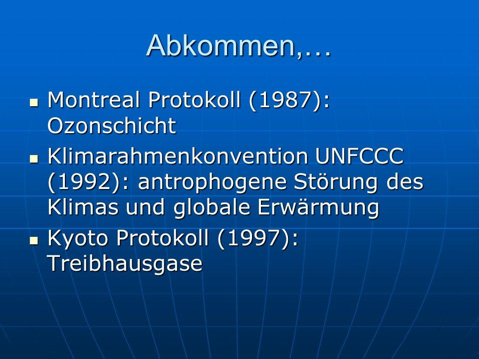 Abkommen,… Montreal Protokoll (1987): Ozonschicht