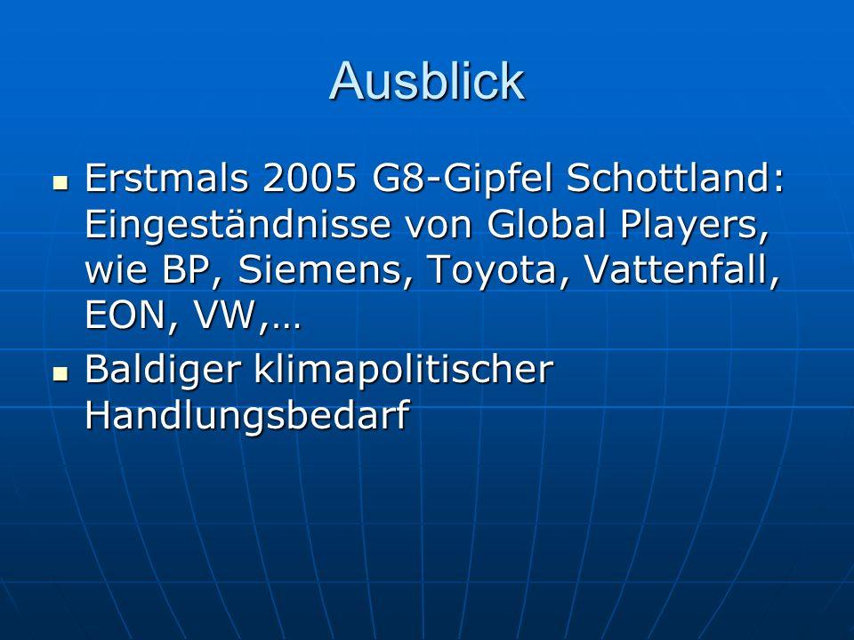 Ausblick Erstmals 2005 G8-Gipfel Schottland: Eingeständnisse von Global Players, wie BP, Siemens, Toyota, Vattenfall, EON, VW,…