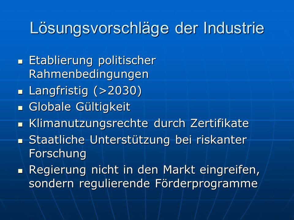 Lösungsvorschläge der Industrie