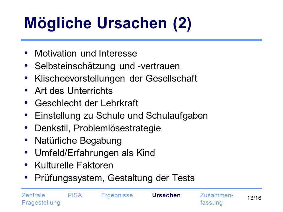 Mögliche Ursachen (2) Motivation und Interesse