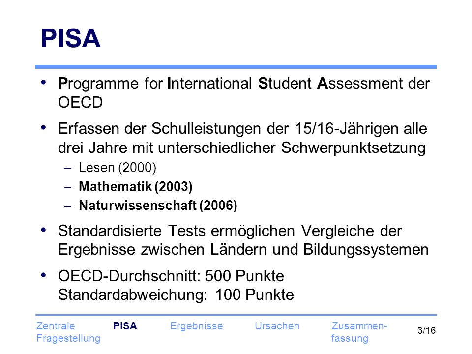 PISA Programme for International Student Assessment der OECD