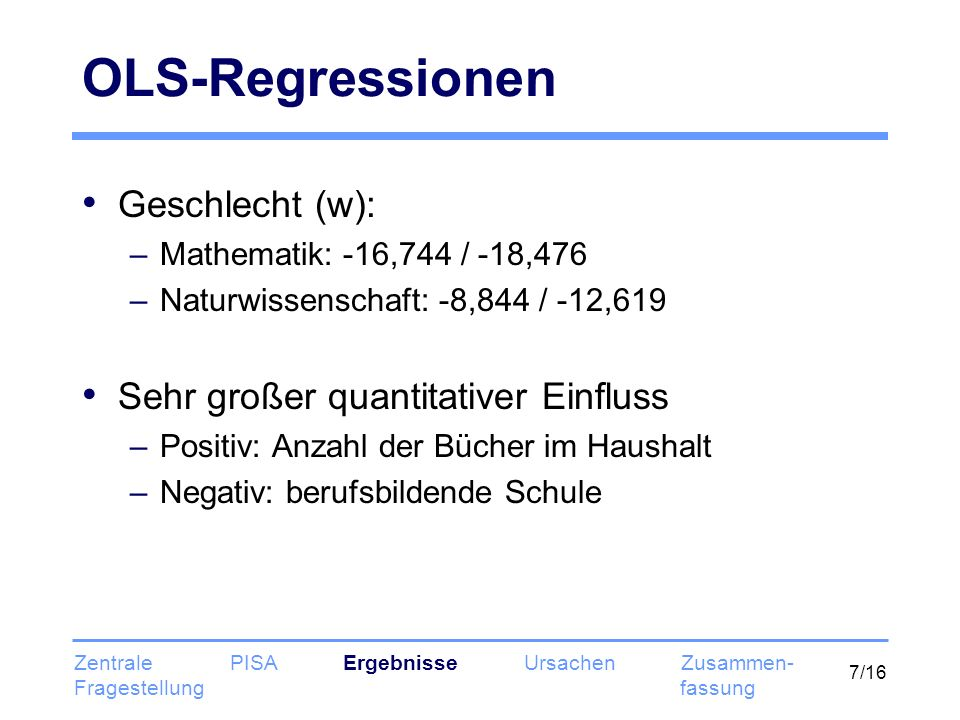 OLS-Regressionen Geschlecht (w): Sehr großer quantitativer Einfluss