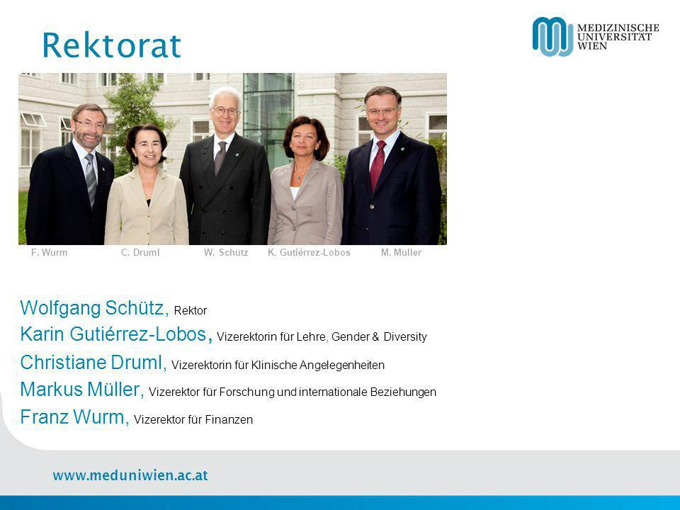 Rektorat F. Wurm C. Druml W. Schütz K. Gutiérrez-Lobos M. Müller.