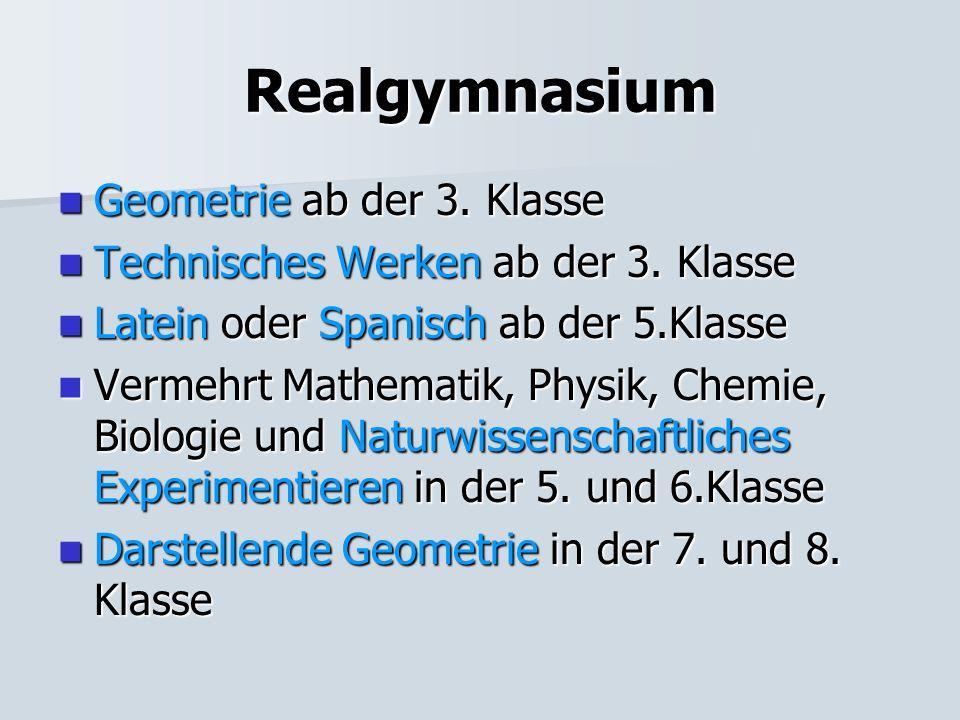 Realgymnasium Geometrie ab der 3. Klasse