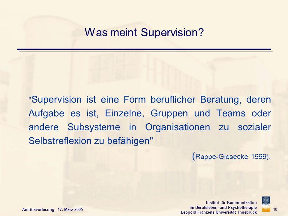 Was meint Supervision (Rappe-Giesecke 1999).
