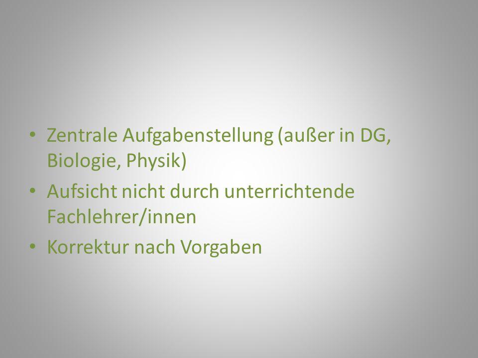 Zentrale Aufgabenstellung (außer in DG, Biologie, Physik)