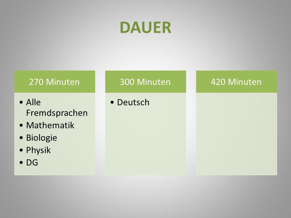 DAUER 270 Minuten Alle Fremdsprachen Mathematik Biologie Physik DG