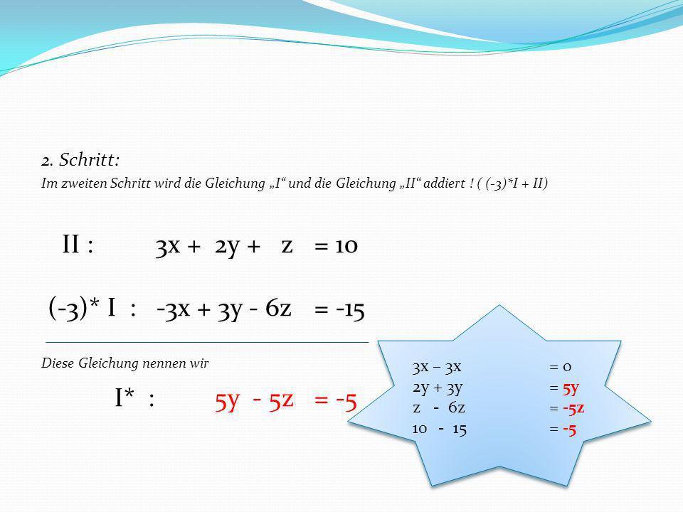 II : 3x + 2y + z = 10 (-3)* I : -3x + 3y - 6z = -15 I* : 5y - 5z = -5