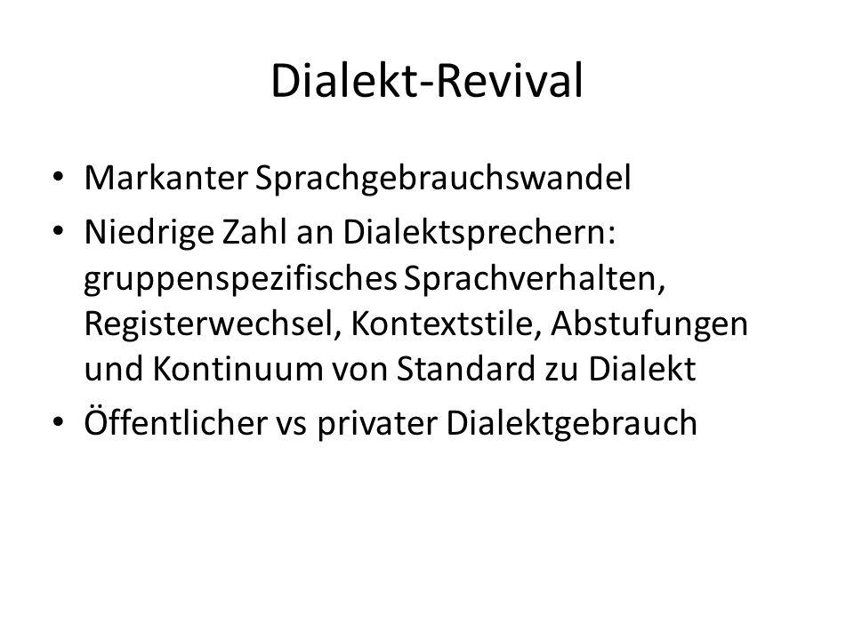 Dialekt-Revival Markanter Sprachgebrauchswandel