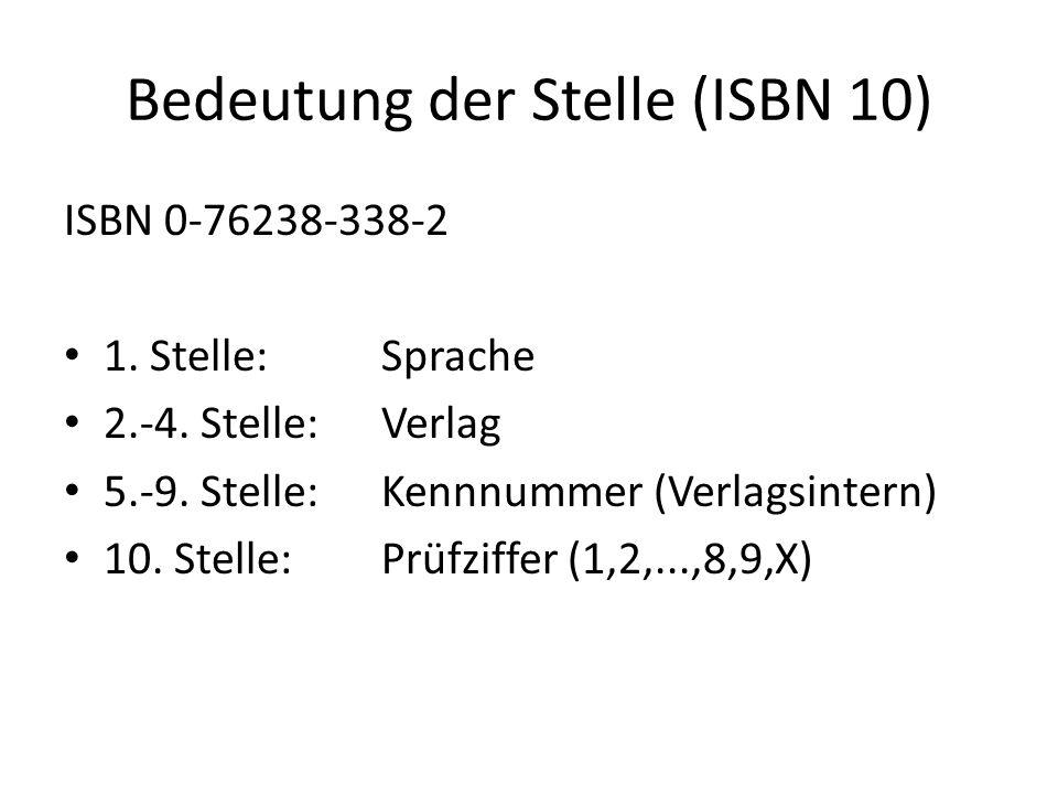 Bedeutung der Stelle (ISBN 10)