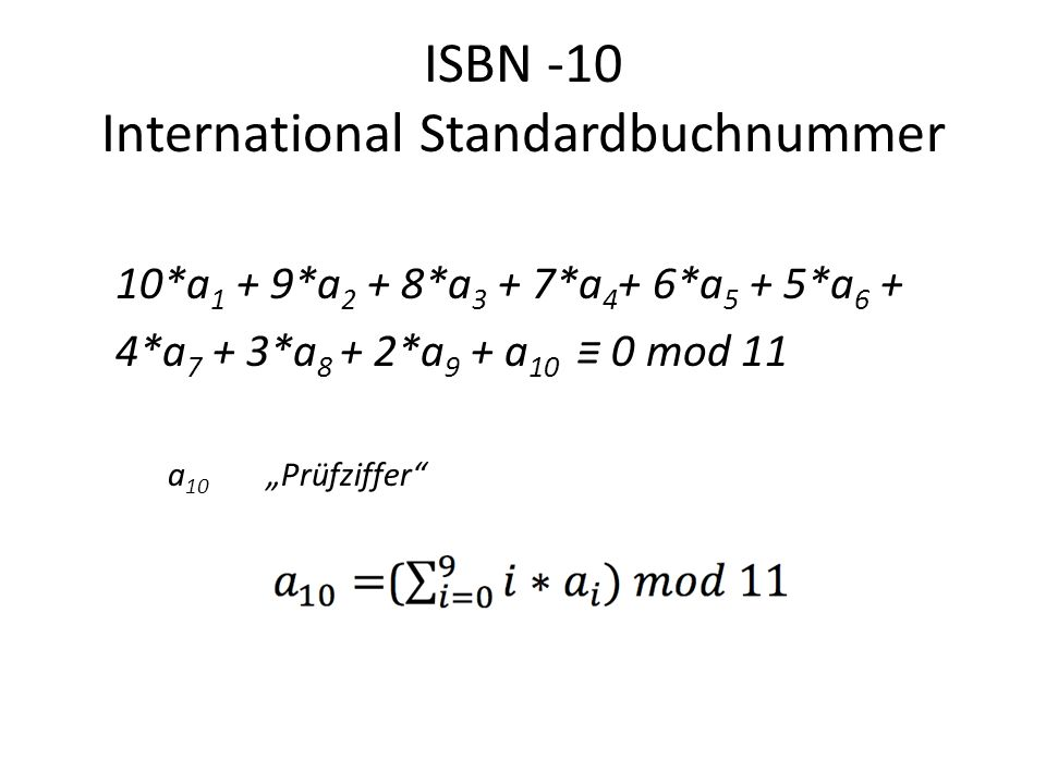 ISBN -10 International Standardbuchnummer