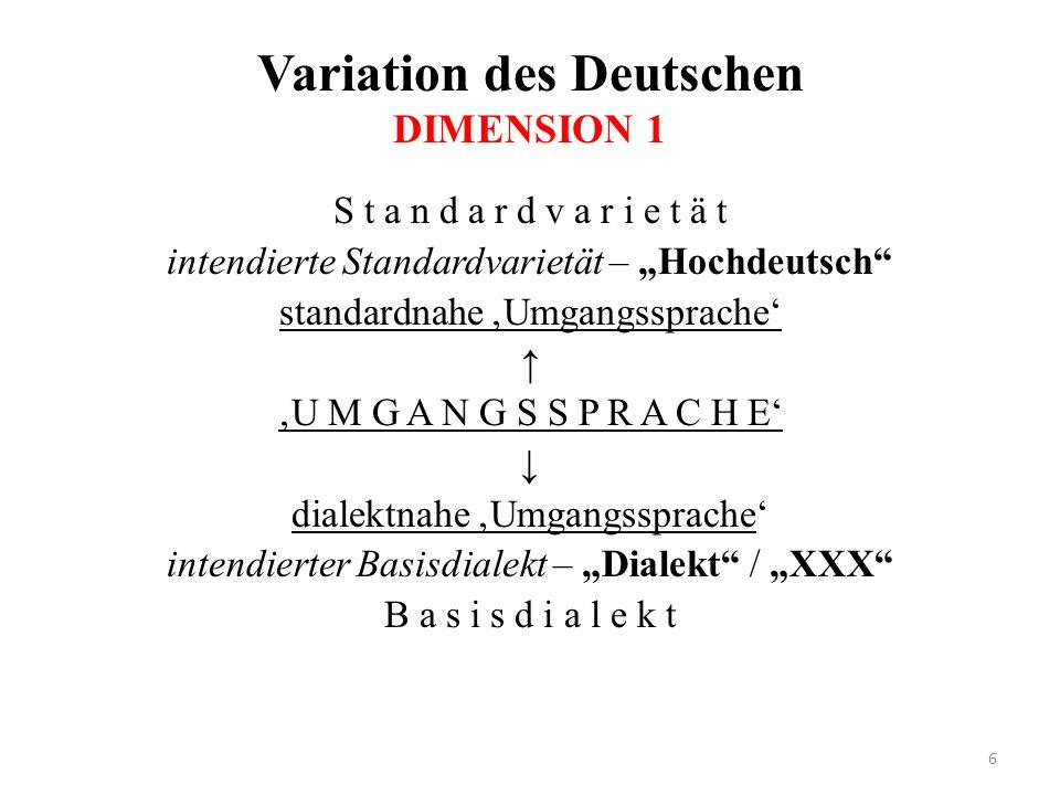 Variation des Deutschen DIMENSION 1