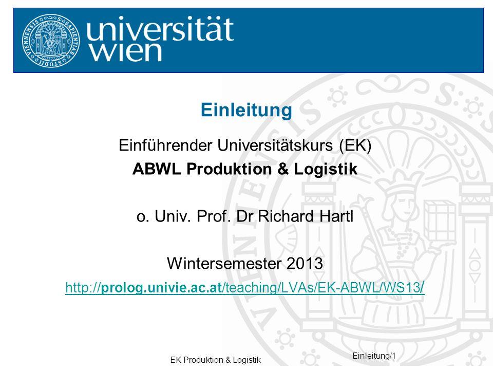 Einleitung Einführender Universitätskurs (EK)