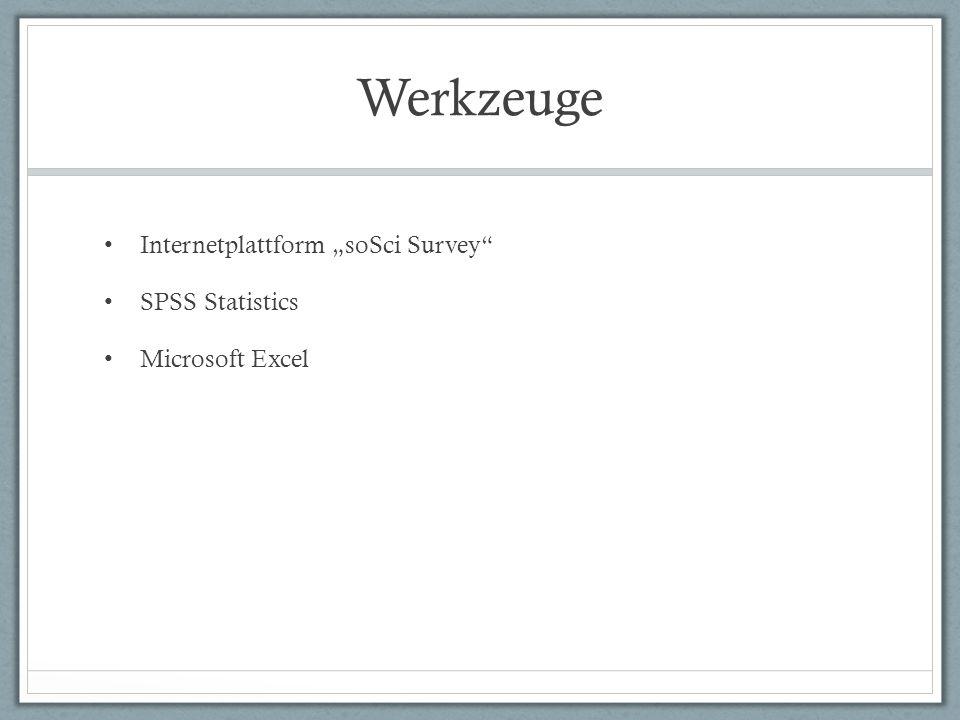 "Werkzeuge Internetplattform ""soSci Survey SPSS Statistics"