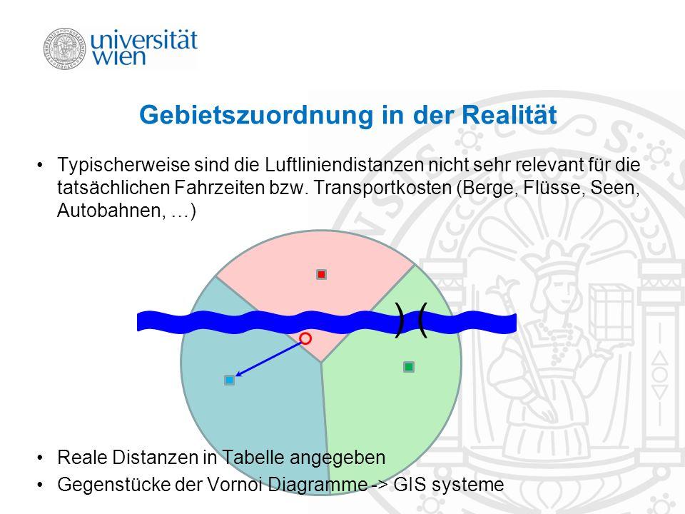 Gebietszuordnung in der Realität