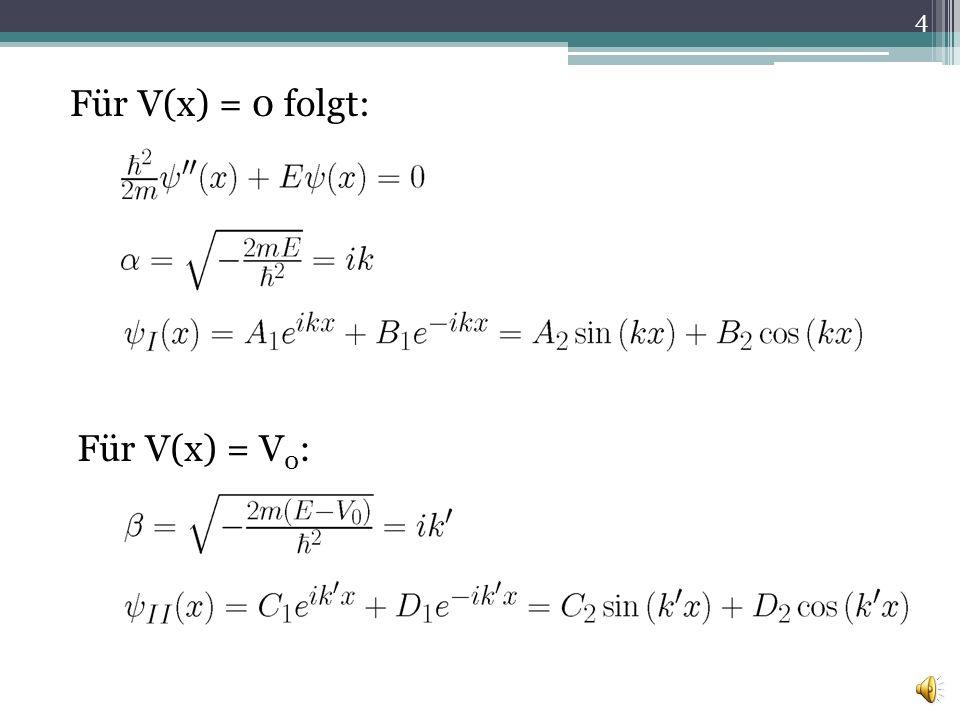 Für V(x) = 0 folgt: Für V(x) = V0: