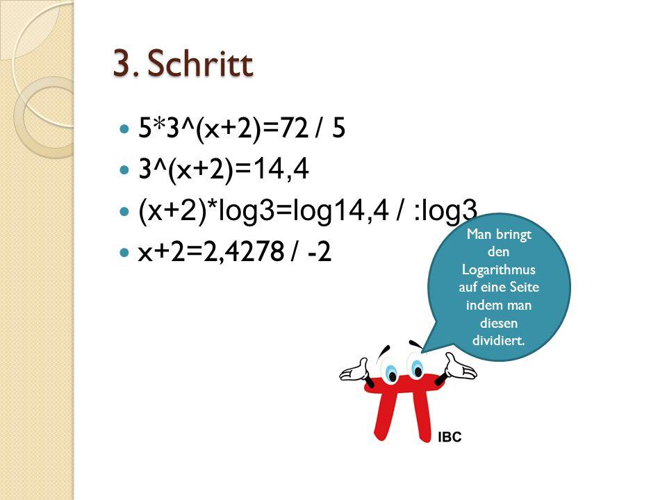 Man bringt den Logarithmus auf eine Seite indem man diesen dividiert.