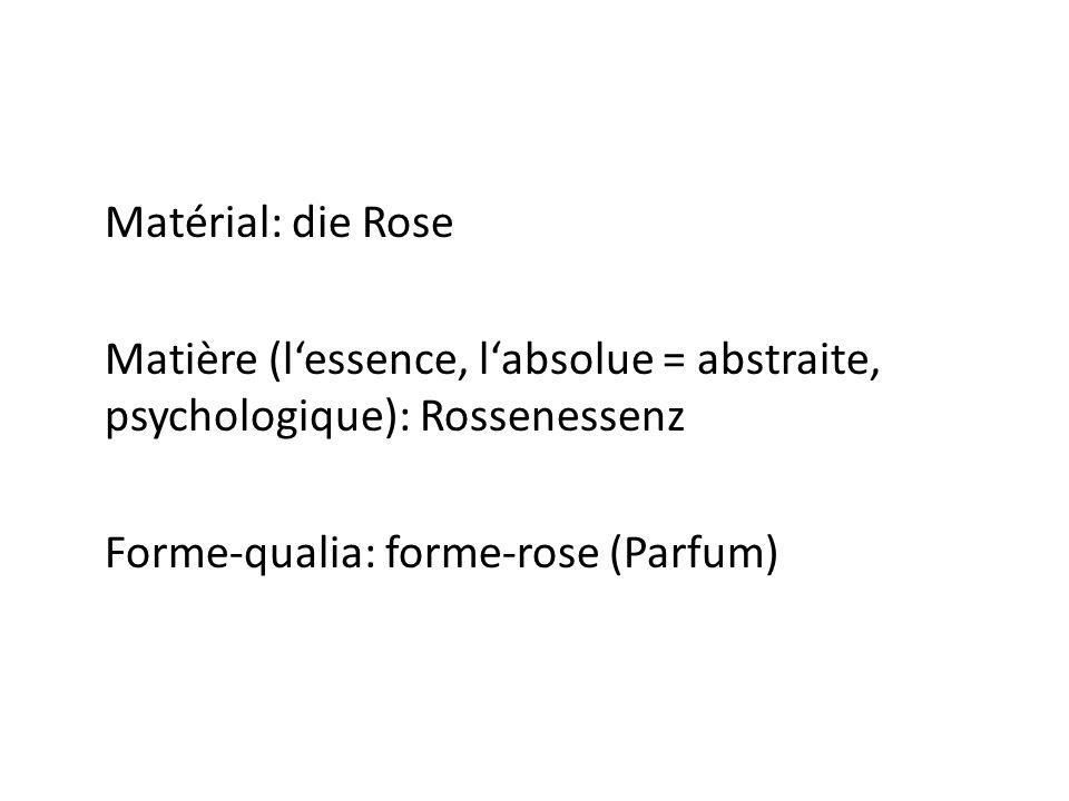 Matérial: die Rose Matière (l'essence, l'absolue = abstraite, psychologique): Rossenessenz Forme-qualia: forme-rose (Parfum)